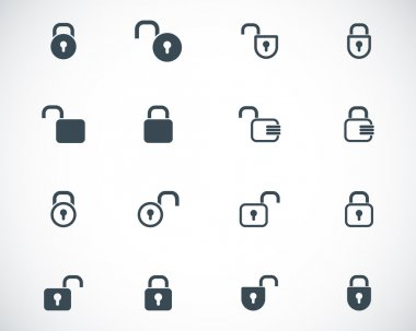 Vector black lock icons set stock vector