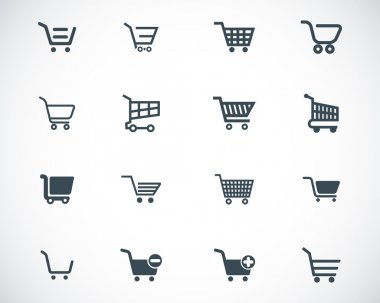 Vector black shopping cart icons set stock vector