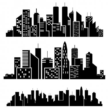 Vector cities silhouette