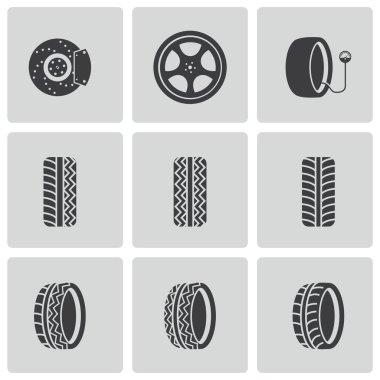 Vector black tire icons set