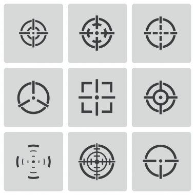 Vector balck crosshair icons set