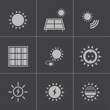 Vector black solar energy icons set