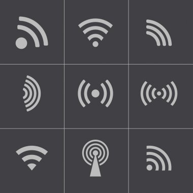 Vectvor black wireless icons set stock vector