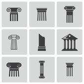 Photo Vector black column icons set
