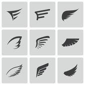 vektor fekete szárny ikonok beállítása