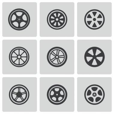 Vector black wheel disks icons set stock vector