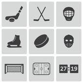 Fotografie Vektor schwarz-Hockey-Symbole-set