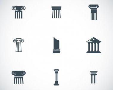 Vector black column icons set
