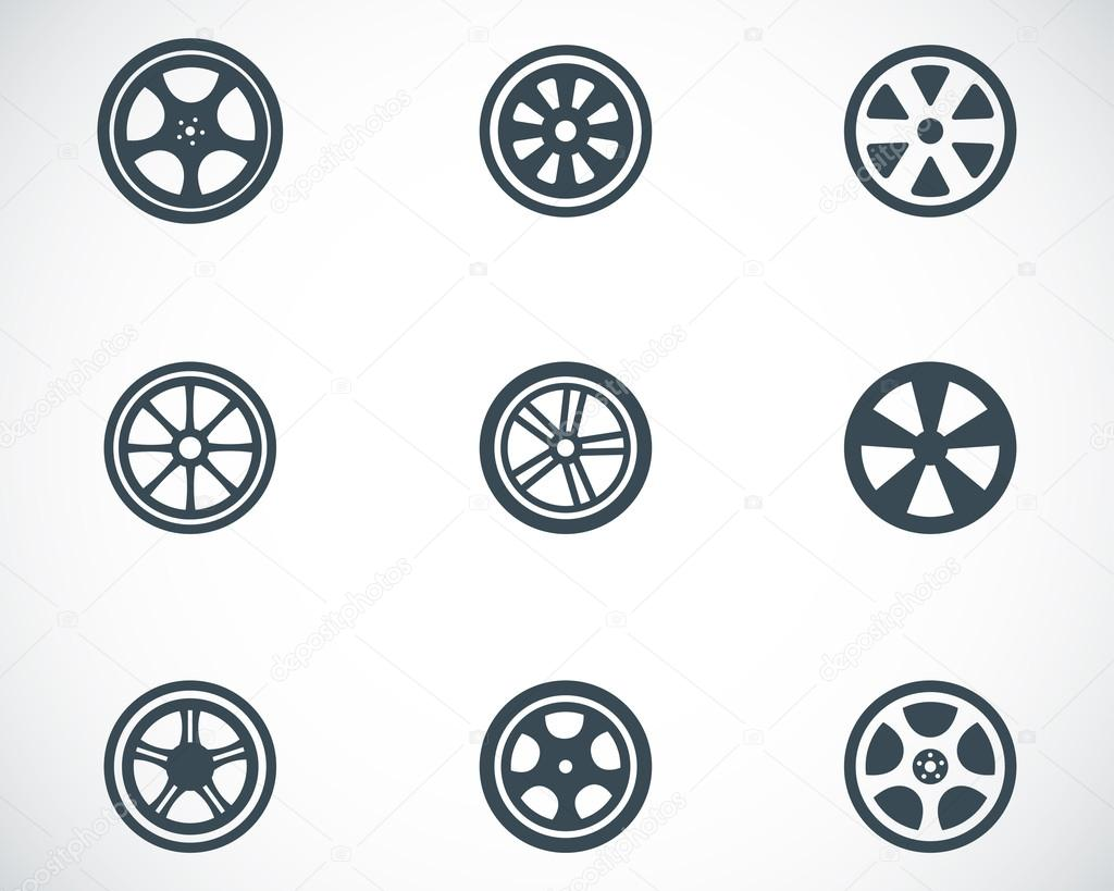 Vector black wheel disks icons set