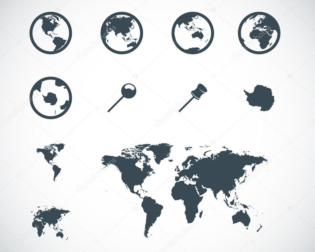 Vector black world map icons set stock vector skarin1 37626423 vector black world map icons set on white background vector by skarin1 gumiabroncs Gallery