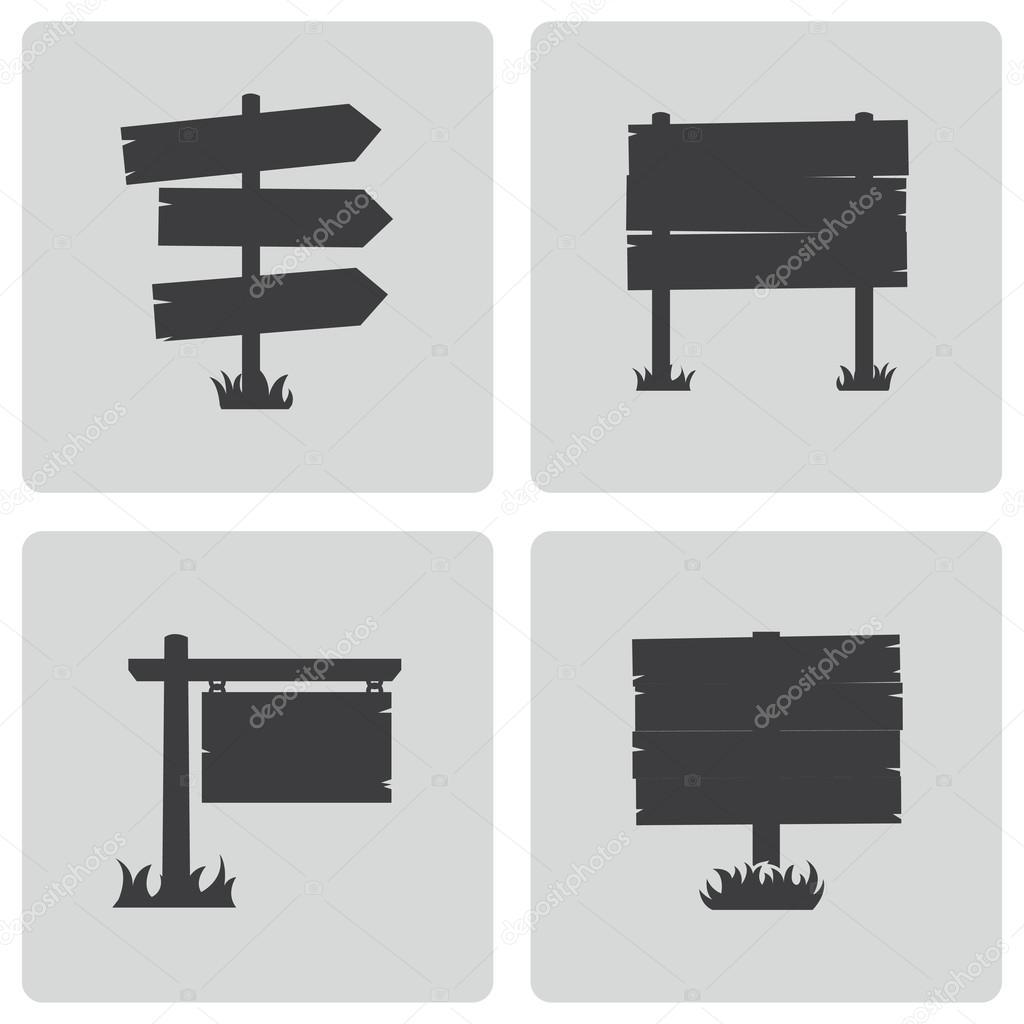 Vector black old wood sign set