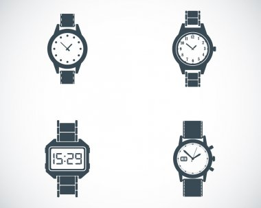 Vector black wristwatch icons set on white background stock vector