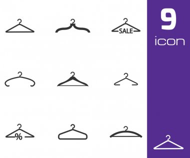 Vector black hanger icons set