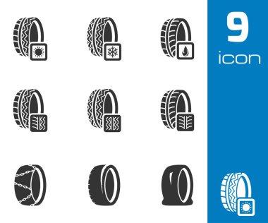 Vector black tire icon set