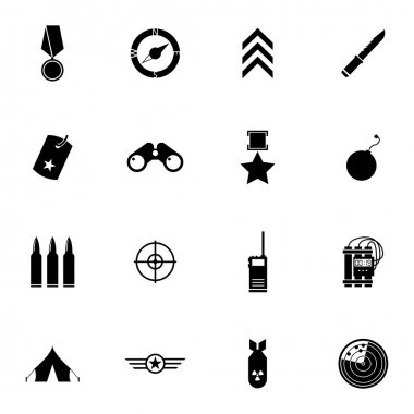 Vector black  military icons set on white background stock vector