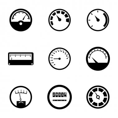 Vector black meter icons set on white background stock vector