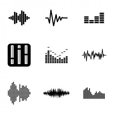 Vector black music soundwave icons set white background stock vector