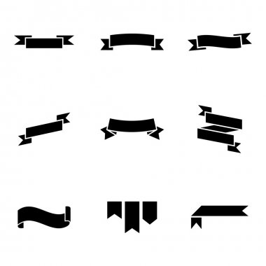 Vector black ribbon icons set