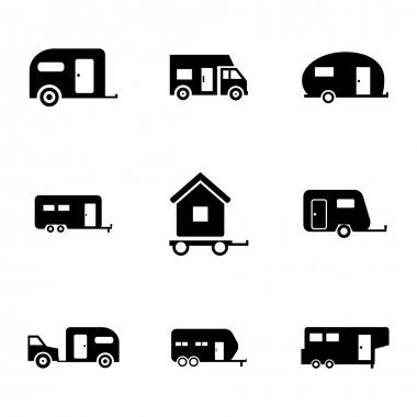 Vector black trailer icons set