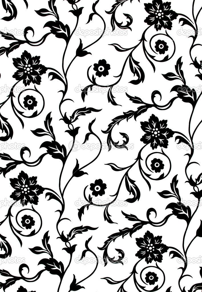 Papier peint d coratif avec motif floral en noir et blanc photo 31837523 - Papier peint avec motif ...
