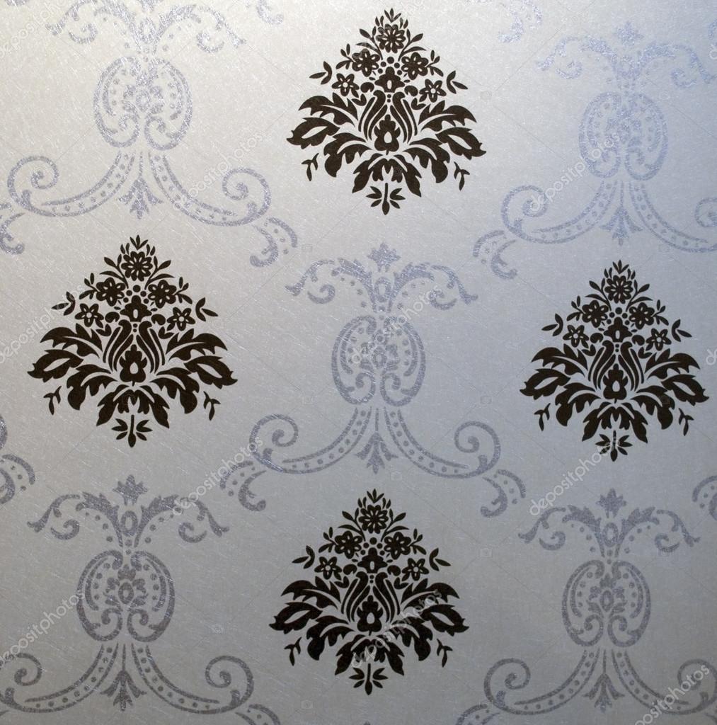 papier peint d coratif avec motif floral en noir et blanc. Black Bedroom Furniture Sets. Home Design Ideas