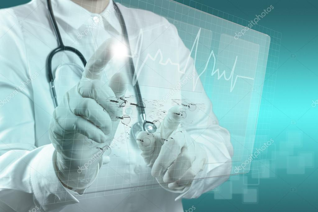 Medicine doctor working with modern computer