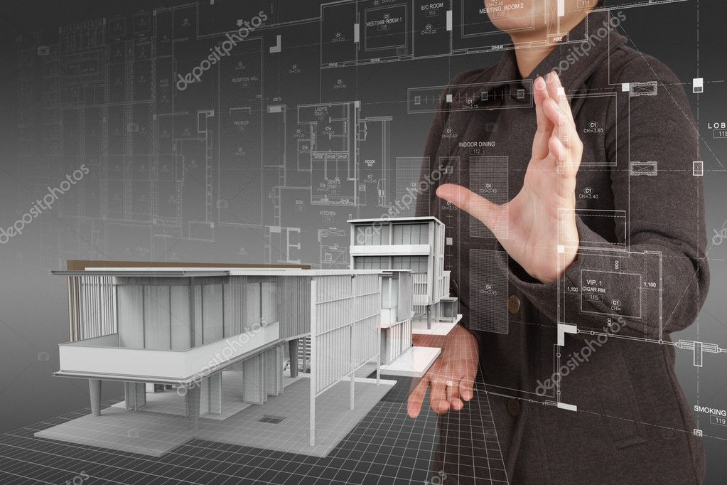 businesswoman shows house model as concept