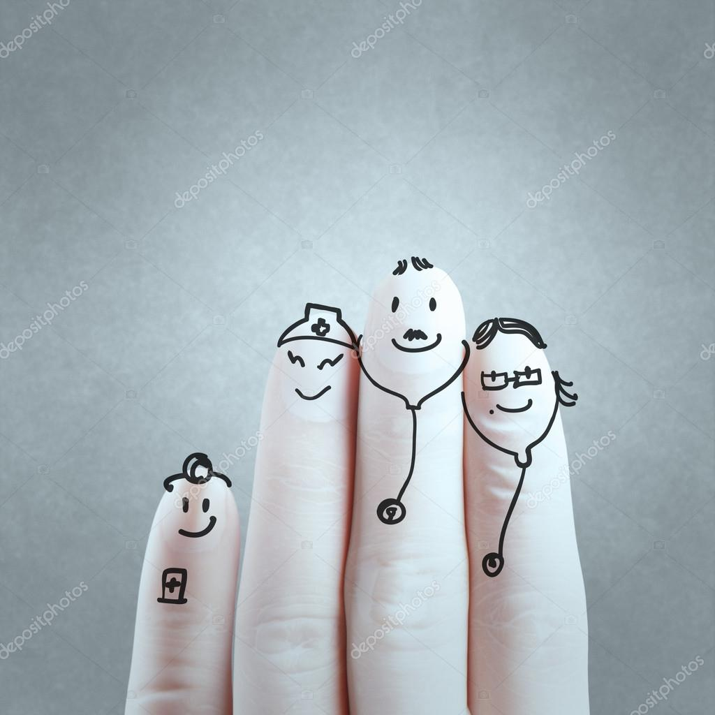 lovely family hand drawn and finger,doctor and nurse