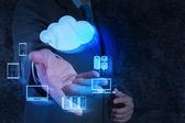 Fényképek Üzletember kéz mutatja be Cloud Computing