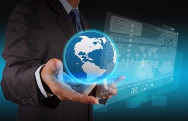 businessman hand using new technology