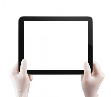 scince doctor hand using tablet computer