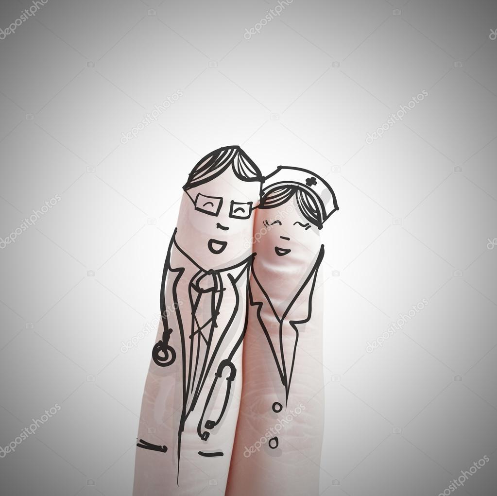 couple hand drawn and finger,doctor and nurse