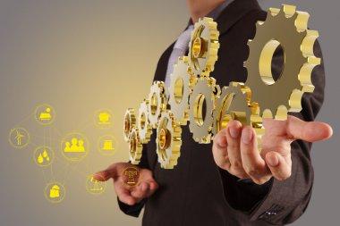 Businessman hand show 3d golden gear to success as industry concept stock vector