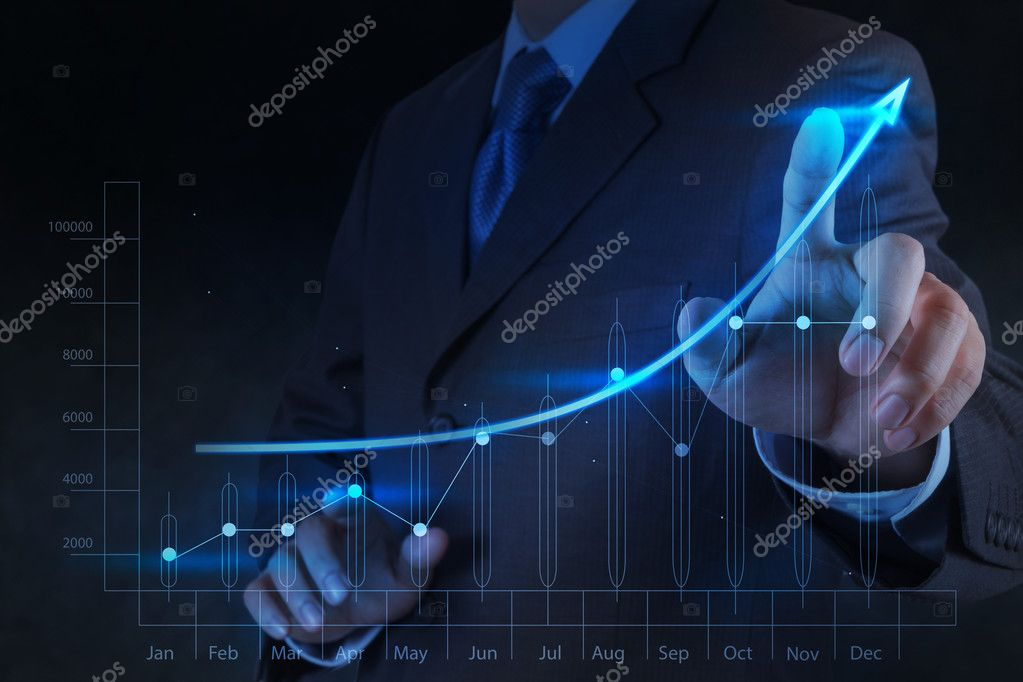 businessman hand touch virtual chart business