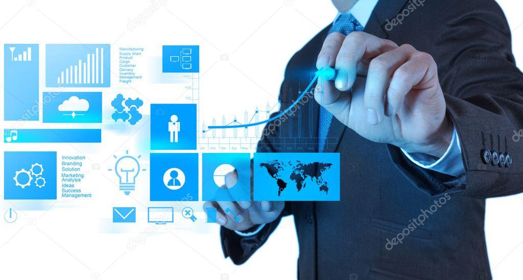 Businessman hand with modern computer