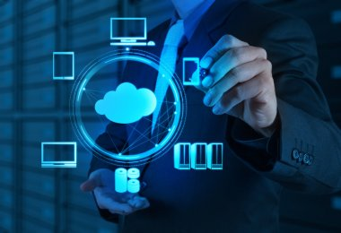 Businessman working with a Cloud Computing diagram on the new