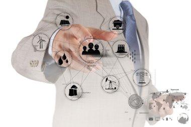 engineer hand works industry diagram on virtual computer