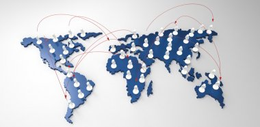 Social network human 3d on world map as concept stock vector