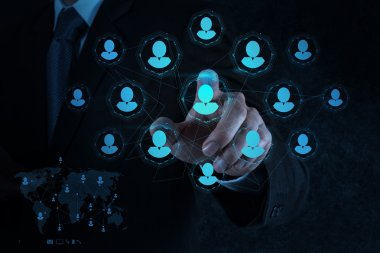businessman hand points human resources, CRM and social media