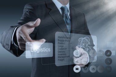 businessman shows logistics diagram as concept