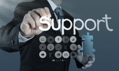 Businessman writing support concept