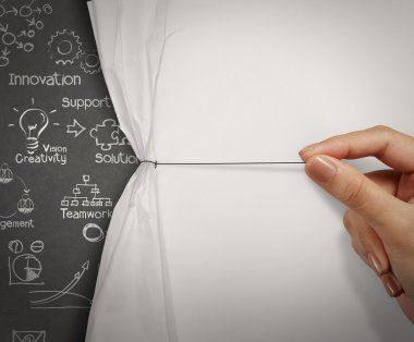 business hand pull wrinkled paper open show business strategy