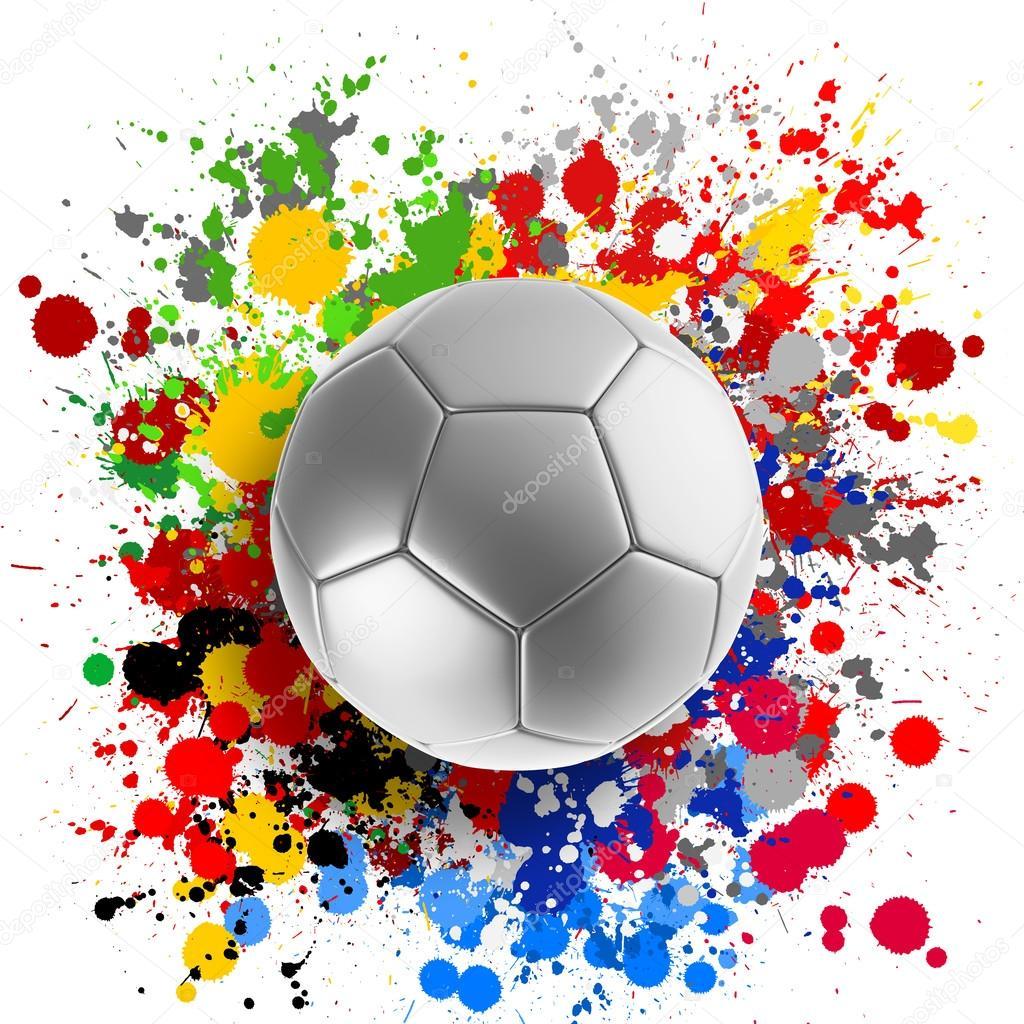 Representación 3D de un balón de fútbol con banderas salpicar colores de  fondo — Foto de ... 2ce636ef30ee8