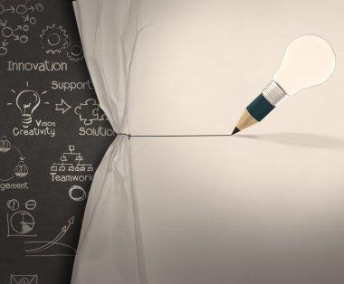 pencil lightbulb draw rope open wrinkled paper show business str