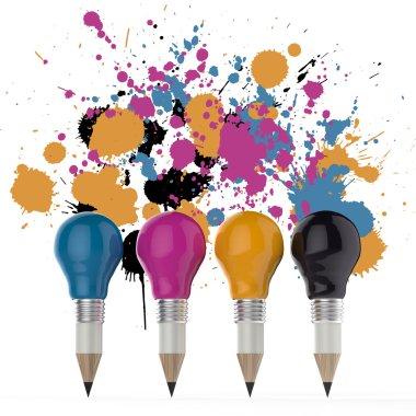 pencil lightbulb head in cmyk color as creative design concept o