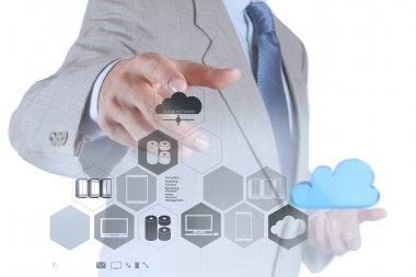 businessman hand showing about cloud network