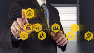 business engineer hand works industry diagram on virtual compute