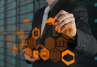 Businessman hand drawing a Cloud Computing diagram on the new computer interface as concept stock vector