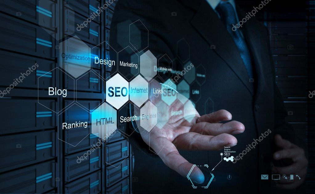 Businessman hand showing search engine optimization as concept