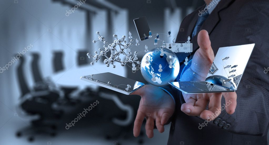 businessman working on modern technology